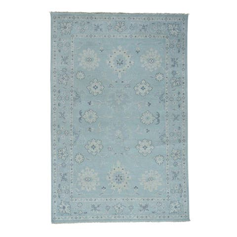 """Shahbanu Rugs Hand-Knotted Turkish Knot Oushak Pure Wool Oriental Rug - 6'0"""" x 9'0"""""""