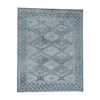 "Shahbanu Rugs Hand-Knotted Pure Wool Geometric Design Oushak Oriental Rug - 8'0"" x 10'0"""