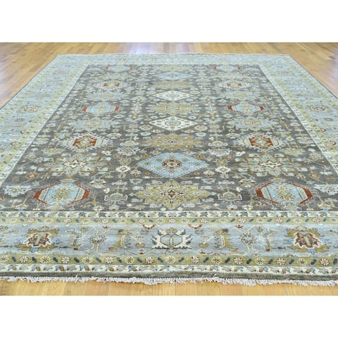 "Shahbanu Rugs Hand-Knotted Pure Wool Karajeh Design Oriental Rug - 10'0"" x 13'9"""