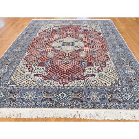 "Shahbanu Rugs Persian Nain 300 Kpsi Wool and Silk Hand-Knotted Oriental Rug - 7'3"" x 10'9"""