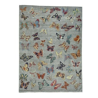 """Shahbanu Rugs Butterfly Design Hand-Knotted Pure Wool Oriental Rug (9'1"""" x 12'3"""") - 9'1"""" x 12'3"""""""