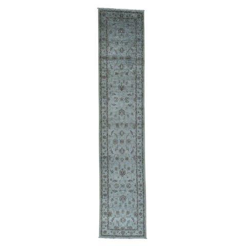 "Shahbanu Rugs Ziegler Mahal Overdyed Pure Wool Hand-Knotted Runner Rug - 2'8"" x 13'0"""