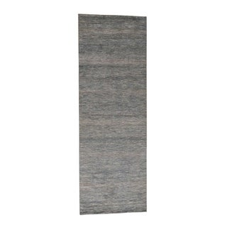 """Shahbanu Rugs Blue Hand-Knotted Wool and Silk Grass Design Wide Runner Rug - 4'1"""" x 12'0"""""""