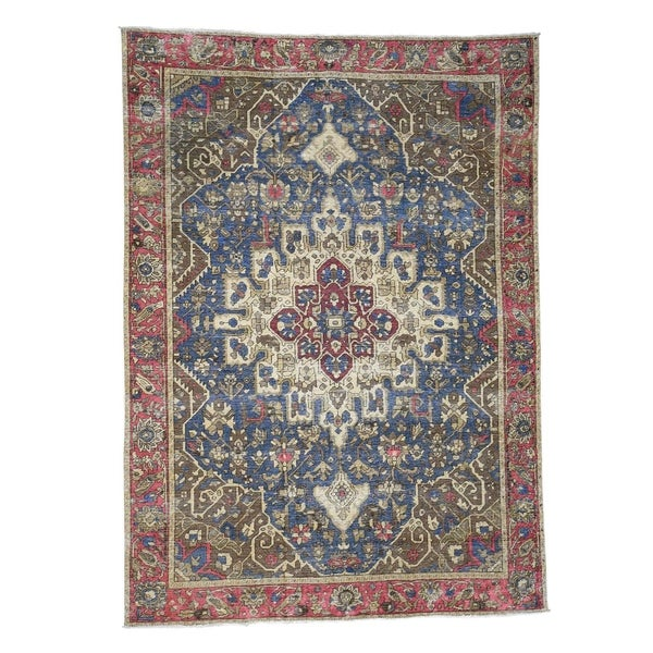 Shop Shahbanu Rugs Hand-Knotted Pure Wool Worn Vintage