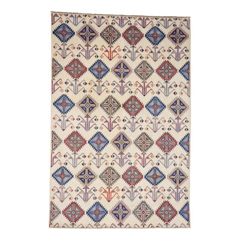 """Shahbanu Rugs Hand-Knotted Pure Wool Ivory Special Kazak Oriental Rug - 6'0"""" x 9'0"""""""