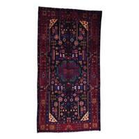 "Shahbanu Rugs Hand-Made Semi Antique Persian Nahavand Wide Runner Rug - 5'3"" x 9'10"""