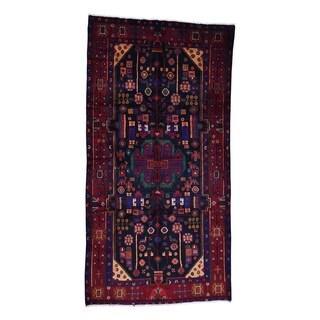 "Shahbanu Rugs Handmade Semi Antique Persian Nahavand Wide Runner Rug - 5'3"" x 9'10"""