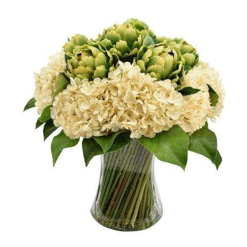 Bouquet of Hydrangeas and Artichokes - Green