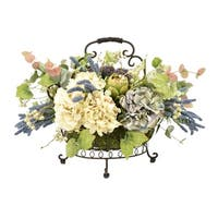 Hydrangeas, Artichokes and Eucalyptus in an Iron Basket - Green
