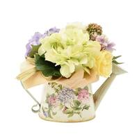 Hydrangeas in a Decorative Watering Can - Green
