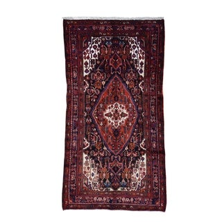"Shahbanu Rugs Hand-Knotted Semi Antique Persian Nahavand Wide Runner Rug - 4'10"" x 8'10"""