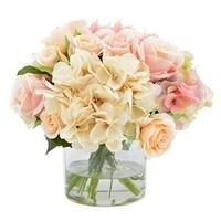 Rose and Hydrangea Bouquet in Decorative Vase - Pink