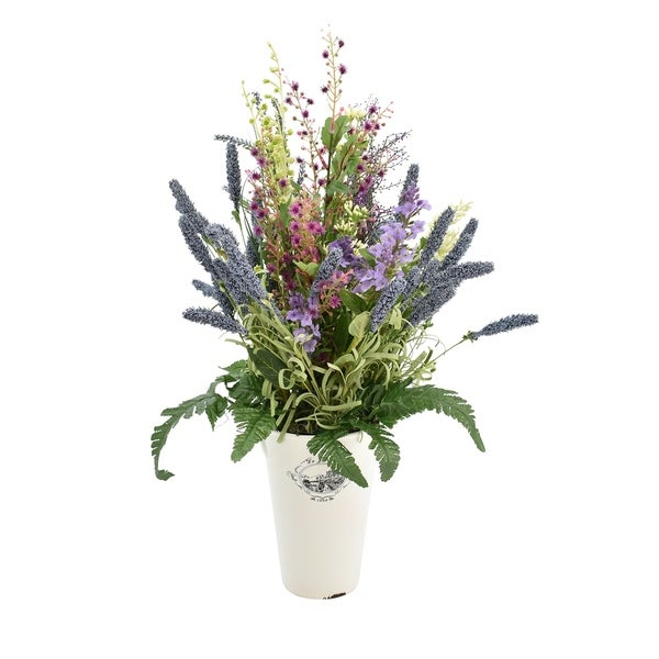 Shop Heather With Forget Me Not In Decorative Vase Purple Free