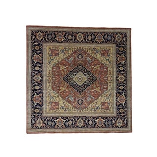"Shahbanu Rugs Pure Wool Hand-Knotted Antiqued Heriz Re-creation Square Rug (10'0"" x 10'0"") - 10'0"" x 10'0"""