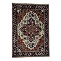 "Shahbanu Rugs Hand-Knotted Pure Wool Indo Heriz Design Persian Rug - 10'0"" x 14'2"""