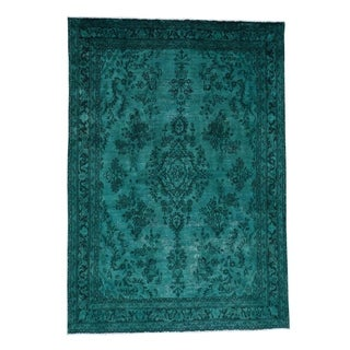 """Shahbanu Rugs Teal Worn Overdyed Persian Tabriz Hand-Knotted Oriental Rug - 7'0"""" x 9'10"""""""