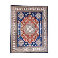 """Shahbanu Rugs Hand-Knotted Pure Wool Special Kazak Design Oriental Rug - 8'1"""" x 10'1"""""""