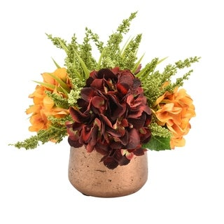 Hydrangeas and Heather in Copper-look Pot - Cranberry