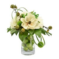Magnolia and Hydrangeas with Green Apples