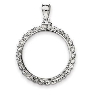 Versil Sterling Silver 30 5 X 2 1mm Rope Coin Bezel Pendant With Chain COIN IS NOT INCLUDED White