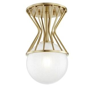 Mitzi by Hudson Valley Petra 1-light Aged Brass Semi Flush, Clear Crackel Glass