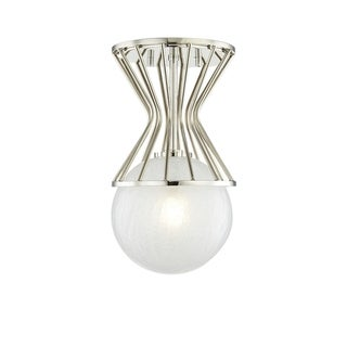 Mitzi by Hudson Valley Petra 1-light Polished Nickel Semi Flush, Clear Crackel Glass