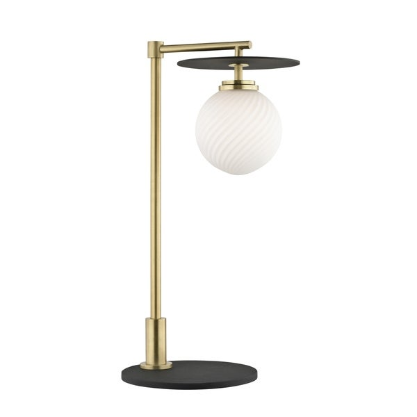 Mitzi by Hudson Valley Ellis 1-light Aged Brass Table Lamp with Black Accents, Opal Matte Glass