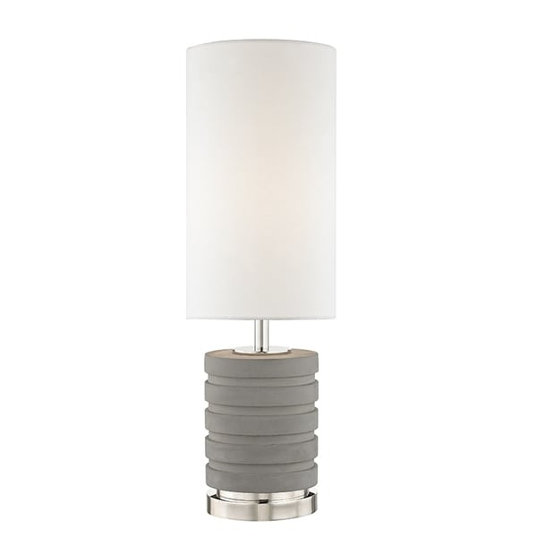 Mitzi by Hudson Valley Iris 1-light Polished Nickel Table Lamp, White Linen