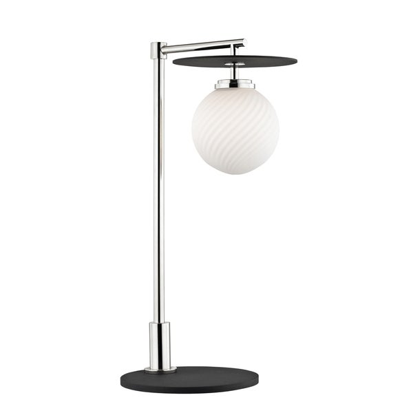 Mitzi by Hudson Valley Ellis 1-light Polished Nickel Table Lamp with Black Accents, Opal Matte Glass