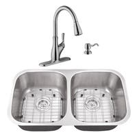 29-1/8 in. 50/50 Stainless Steel Kitchen Sink & Transitional Faucet