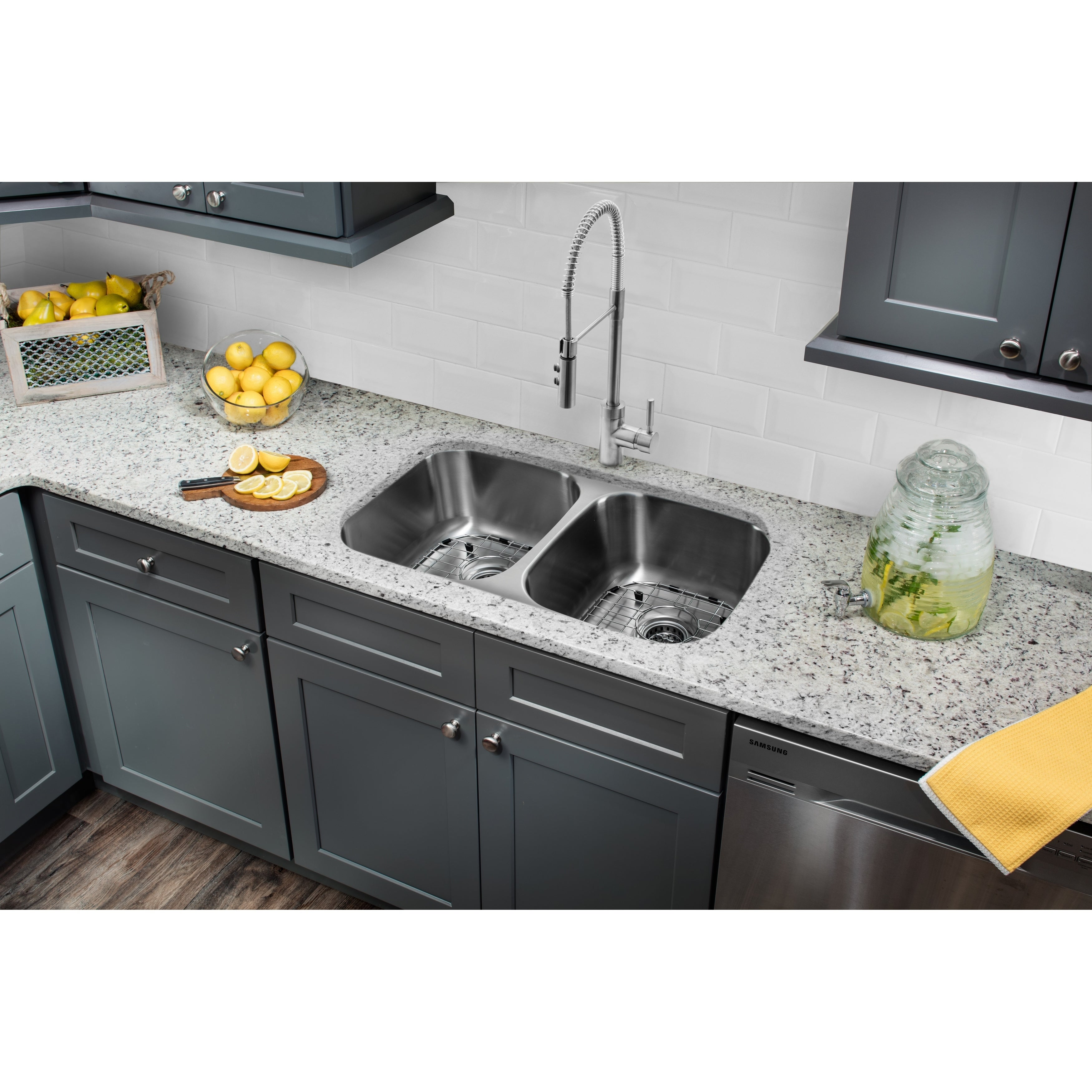 29-1/8 in. 50/50 Stainless Steel Kitchen Sink & Industrial Faucet