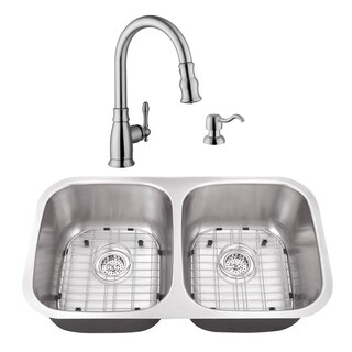 32-1/4 in. 50/50 Stainless Steel Kitchen Sink & Traditional Faucet
