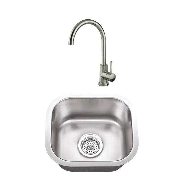 Small Stainless Steel Bar Sink Gooseneck