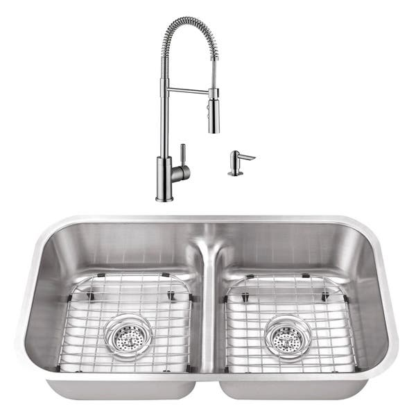 32 1 2 In 50 50 Low Divider Stainless Steel Kitchen Sink Industrial Faucet Overstock 20631654