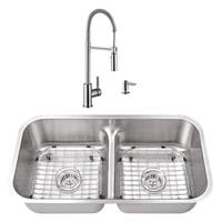 32-1/2 in. 50/50 Low Divider Stainless Steel Kitchen Sink & Industrial Faucet
