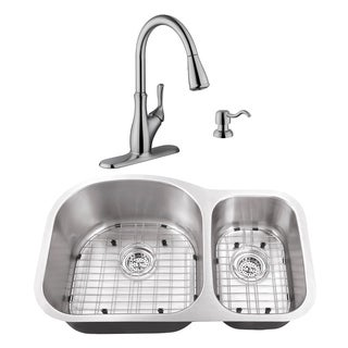 31-1/2 in. 70/30 Stainless Steel Kitchen Sink & Transitional Faucet