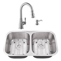 29-1/8 in. 50/50 Stainless Steel Kitchen Sink & Traditional Faucet