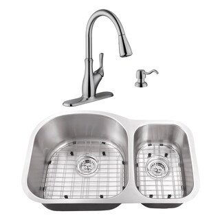 31-1/2 in. 70/30 Eurostyle Stainless Steel Kitchen Sink & Transitional Faucet