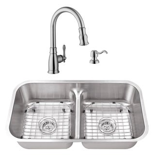 32-1/2 in. 50/50 Low Divider Stainless Steel Kitchen Sink & Traditional Faucet