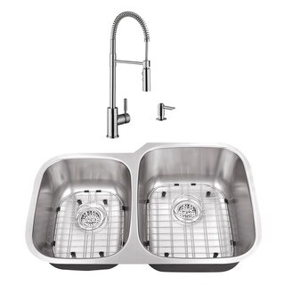 32 in. 40/60 Stainless Steel Kitchen Sink & Industrial Faucet