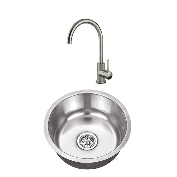 17-1/8 in. Round Stainless Steel Bar Sink & Gooseneck Bar Faucet