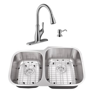 32 in. 40/60 Stainless Steel Kitchen Sink & Transitional Faucet