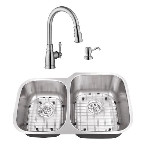 32 in. 40/60 Stainless Steel Kitchen Sink & Traditional Faucet