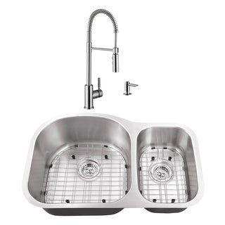 31-1/2 in. 70/30 Eurostyle Stainless Steel Kitchen Sink & Industrial Faucet