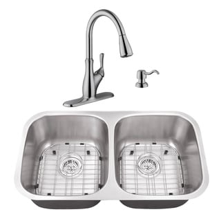32-1/4 in. 50/50 Stainless Steel Kitchen Sink & Transitional Faucet