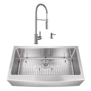 32-7/8 in. Apron Front Stainless Steel Kitchen Sink & Industrial Faucet