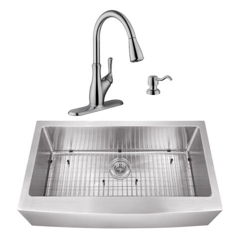 35-7/8 in. Apron Front Stainless Steel Kitchen Sink & Transitional Faucet