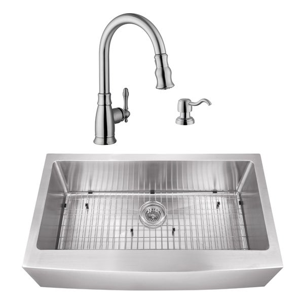 35-7/8 in. Apron Front Stainless Steel Kitchen Sink & Traditional Faucet
