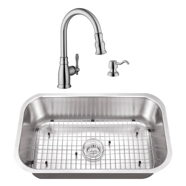 Cahaba 30 X 18 18 Gauge Ss Single Bowl Kitchen Sink With Gooseneck