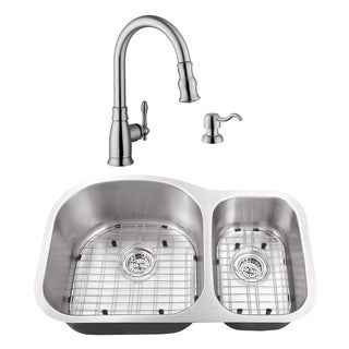 31-1/2 in. 70/30 Eurostyle Stainless Steel Kitchen Sink & Traditional Faucet
